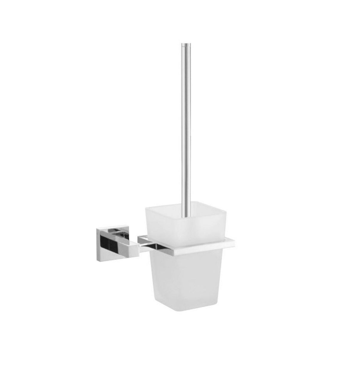 Toilet Brush With Frosted Glass Cup - Chrome