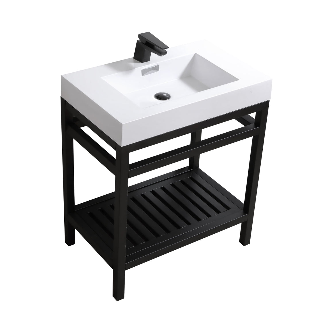 "30"" Cisco, Stainless Steel Bathroom Vanity - Matte Black"