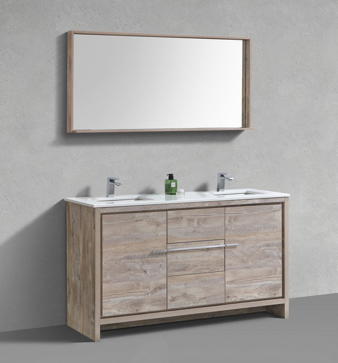 "60"" Dolce, Kubebath Nature Wood Double Sink Bathroom Vanity"