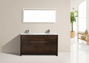 "60"" Dolce, Kubebath Rose Wood Double Sink Bathroom Vanity"