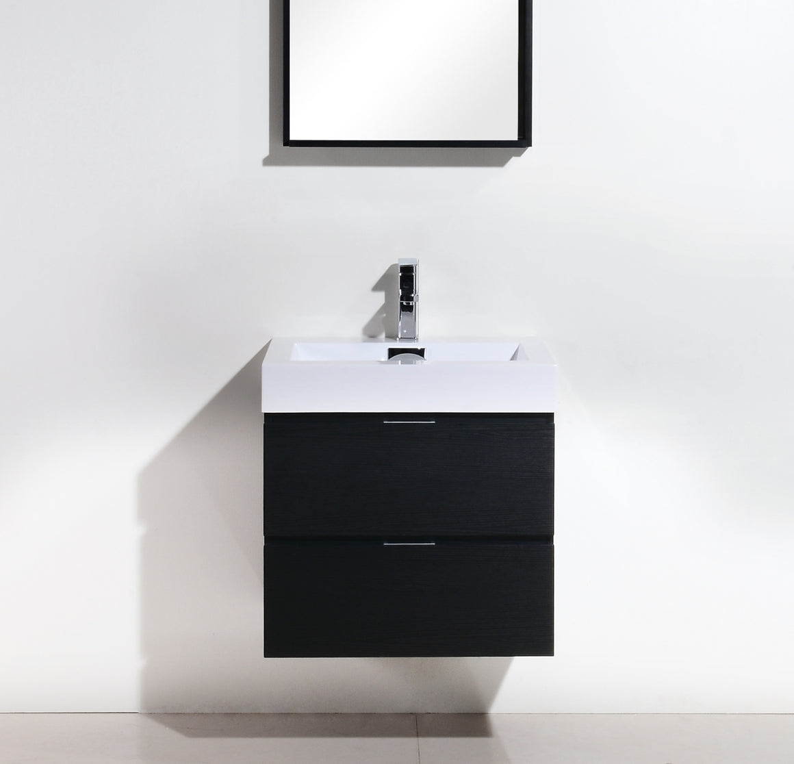 "24"" Keira, Black Espresso Wall Mount Modern Bathroom Vanity"