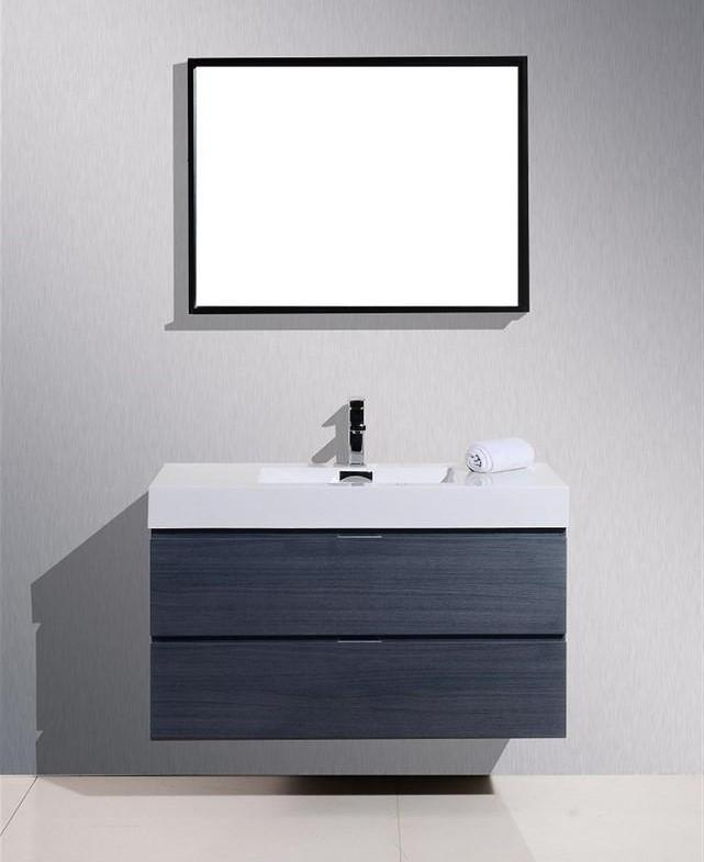 "40"" Bliss, Kubebath Grey Oak Wall Mount Modern Bathroom Vanity"
