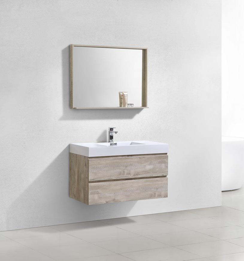 "40"" Bliss, Kubebath Nature Wood Wall Mount Modern Bathroom Vanity"