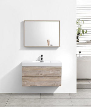 "40"" Keira, Nature Wood Wall Mount Modern Bathroom Vanity"