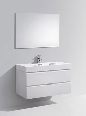 "40"" Keira, Gloss White Wall Mount Modern Bathroom Vanity"