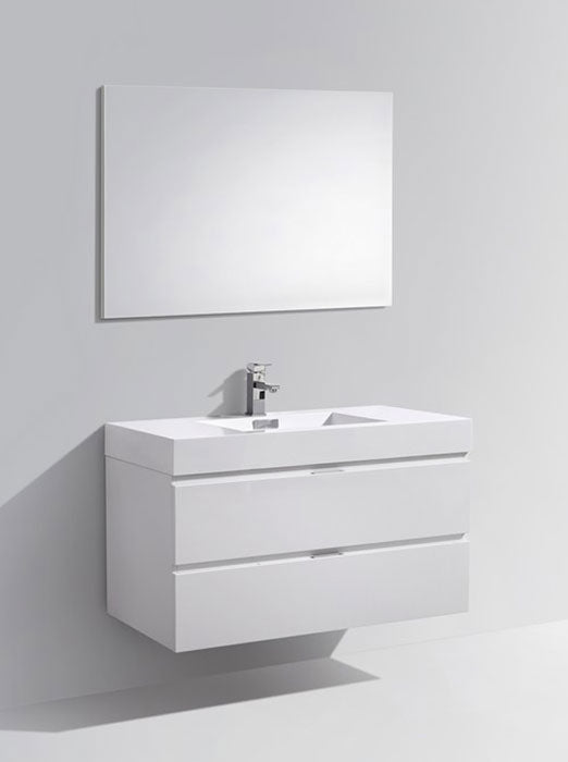 "40"" Bliss, Kubebath High Gloss White Wall Mount Modern Bathroom Vanity"