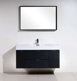 "48"" Bliss, Kubebath Black Espresso Wall Mount Modern Bathroom Vanity"