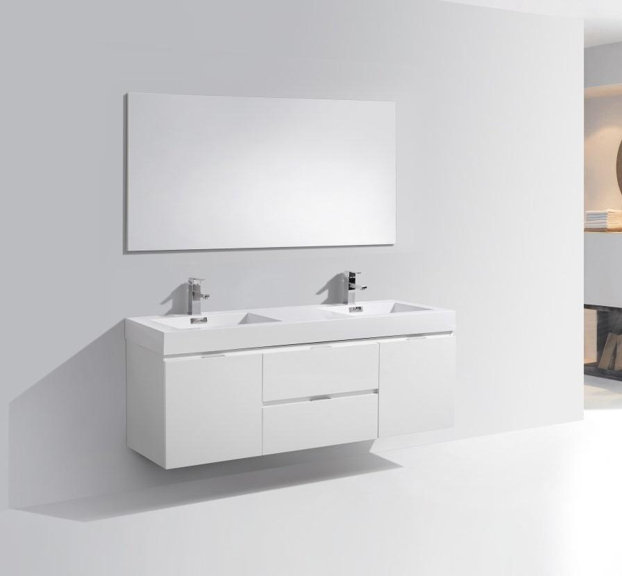 "60"" Bliss, Kubebath High Gloss White Bathroom Vanity"