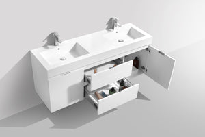 "60"" Bliss, Kubebath High Gloss White Wall Mount Double Sink Bathroom Vanity"