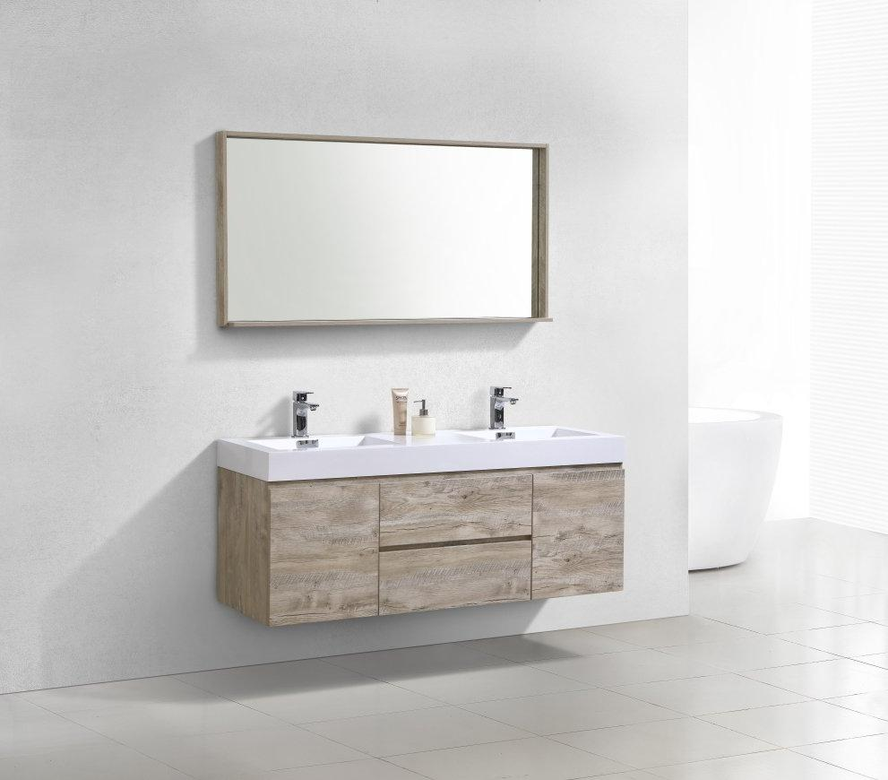 "60"" Bliss, Kubebath Nature Wood Wall Mount Double Sink Bathroom Vanity"