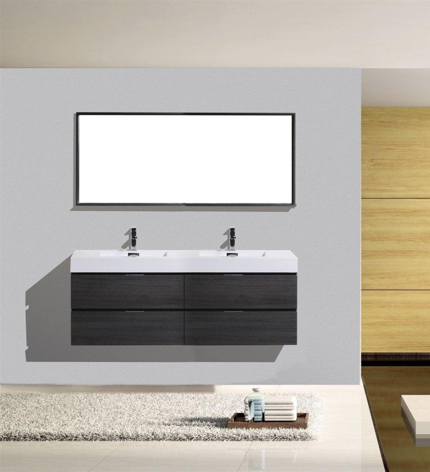 "72"" Keira, Grey Oak Wall Mount Double Sink Bathroom Vanity"
