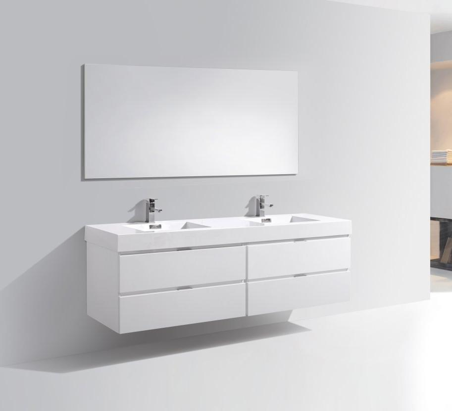 "72"" Keira, Gloss White Wall Mount Double Sink Bathroom Vanity"