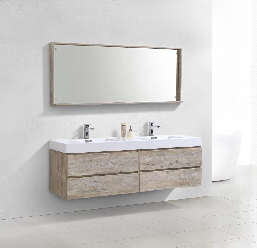 72 Bliss Kubebath Nature Wood Wall Mount Double Sink Vanity Bsl72d