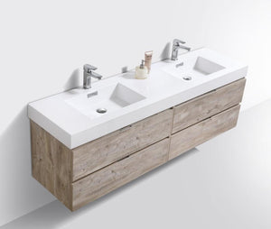 "72"" Keira, Nature Wood Wall Mount Double Sink Bathroom Vanity"