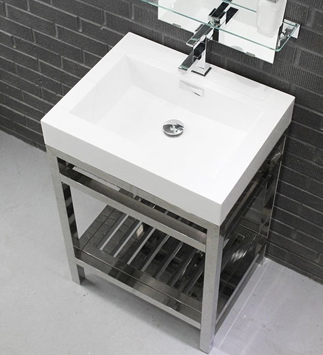 "24"" Cisco, Stainless Steel Bathroom Vanity - Chrome"