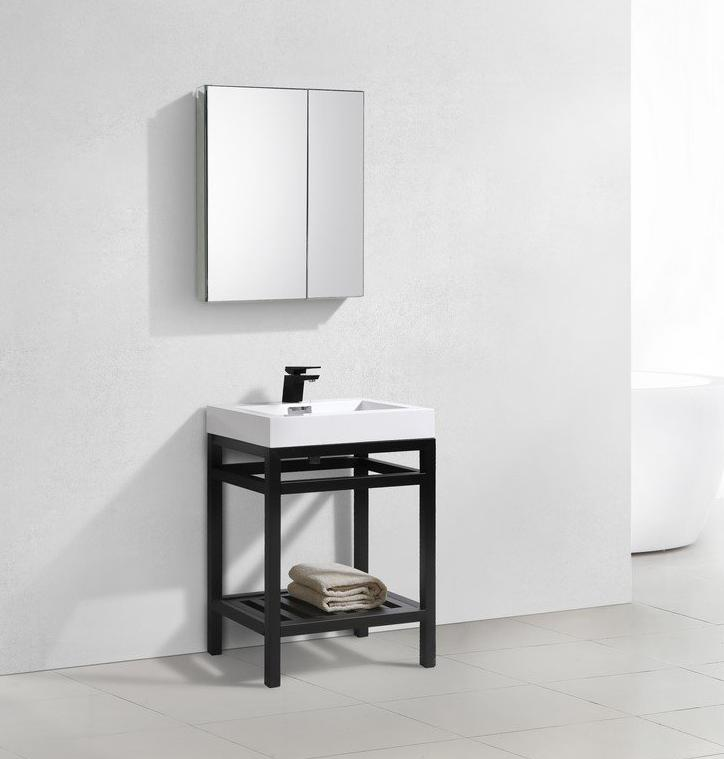 "24"" Cisco, Stainless Steel Bathroom Vanity - Matte Black"