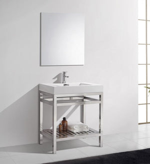 "30"" Cisco, Chrome Stainless Steel Bathroom Vanity - Chrome"