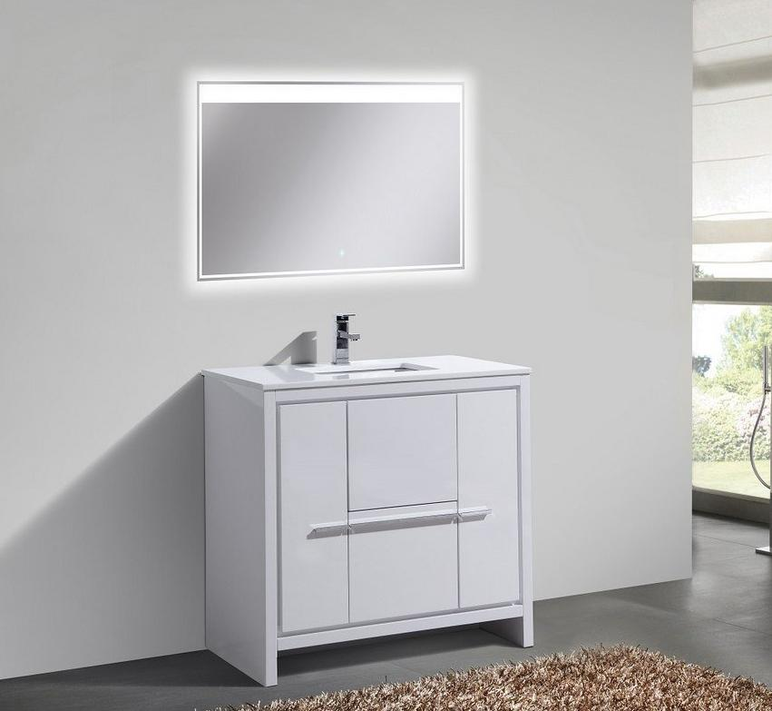 "36"" Dolce, Kubebath High Gloss White Modern Bathroom Vanity"