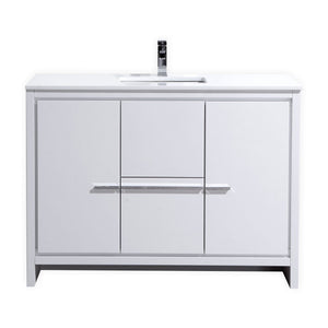 "48"" Dolce, Kubebath High Gloss White Modern Bathroom Vanity"