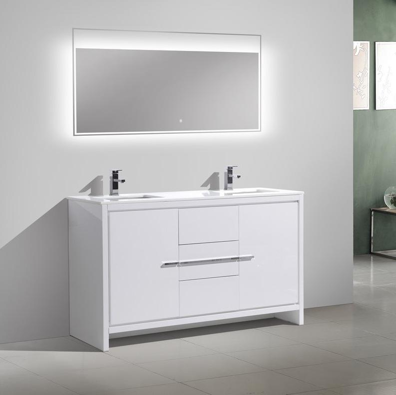 "60"" Dolce, Kubebath High Gloss White Double Sink Vanity"