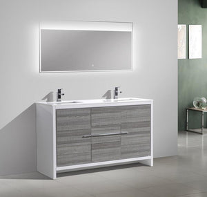 "60"" Dolce, Kubebath Ash Grey Double Sink Bathroom Vanity - ETA END OF JUNE"
