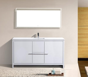 "60"" Dolce, Kubebath High Gloss White Single Sink Bathroom Vanity - ETA END OF JUNE"