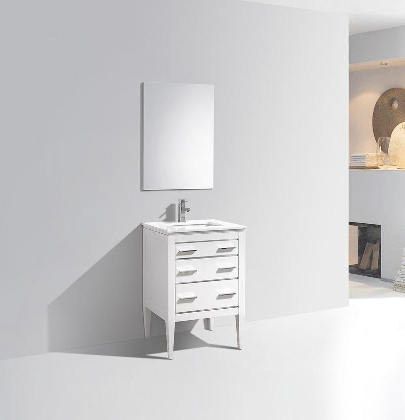 "24"" Eiffel, Kubebath High Gloss White Bathroom Vanity"