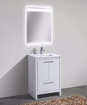 "24"" Dolce, Kubebath High Gloss White Modern Bathroom Vanity"