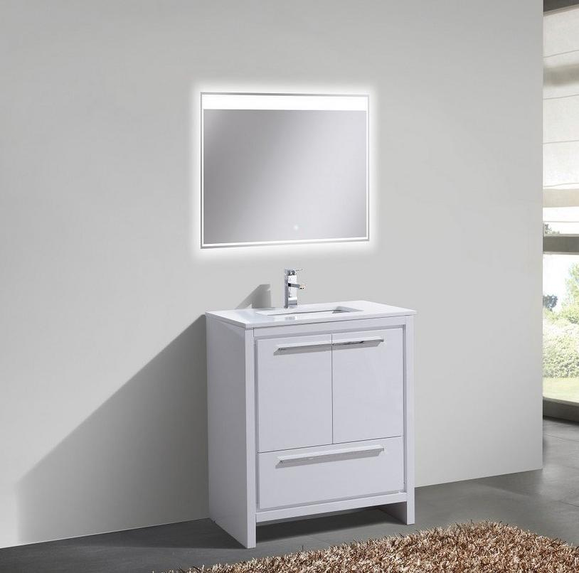 "30"" Dolce, Kubebath High Gloss White Modern Bathroom Vanity"