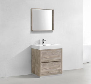 "30"" Bliss, Kubebath Nature Wood Free Standing Bathroom Vanity"