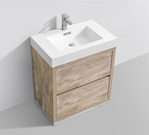 "30"" Vera, Nature Wood Free Standing Bathroom Vanity"