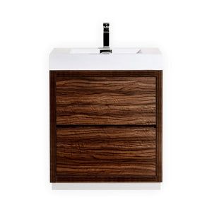 "30"" Bliss, Kubebath Walnut Free Standing Bathroom Vanity"