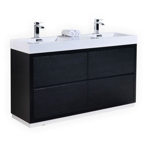 "60"" Bliss, Kubebath Black Espresso Free Standing Double Bathroom Vanity"
