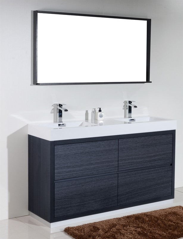 "60"" Bliss, Kubebath Grey Oak Free Standing Double Bathroom Vanity"