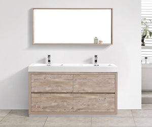 "60"" Bliss, Kubebath Nature Wood Free Standing Double Bathroom Vanity"