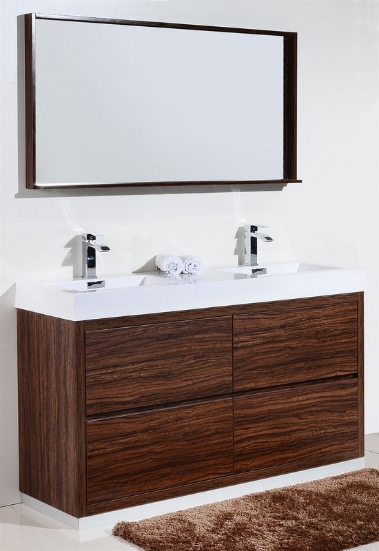 "60"" Bliss, Kubebath Walnut Free Standing Double Bathroom Vanity"