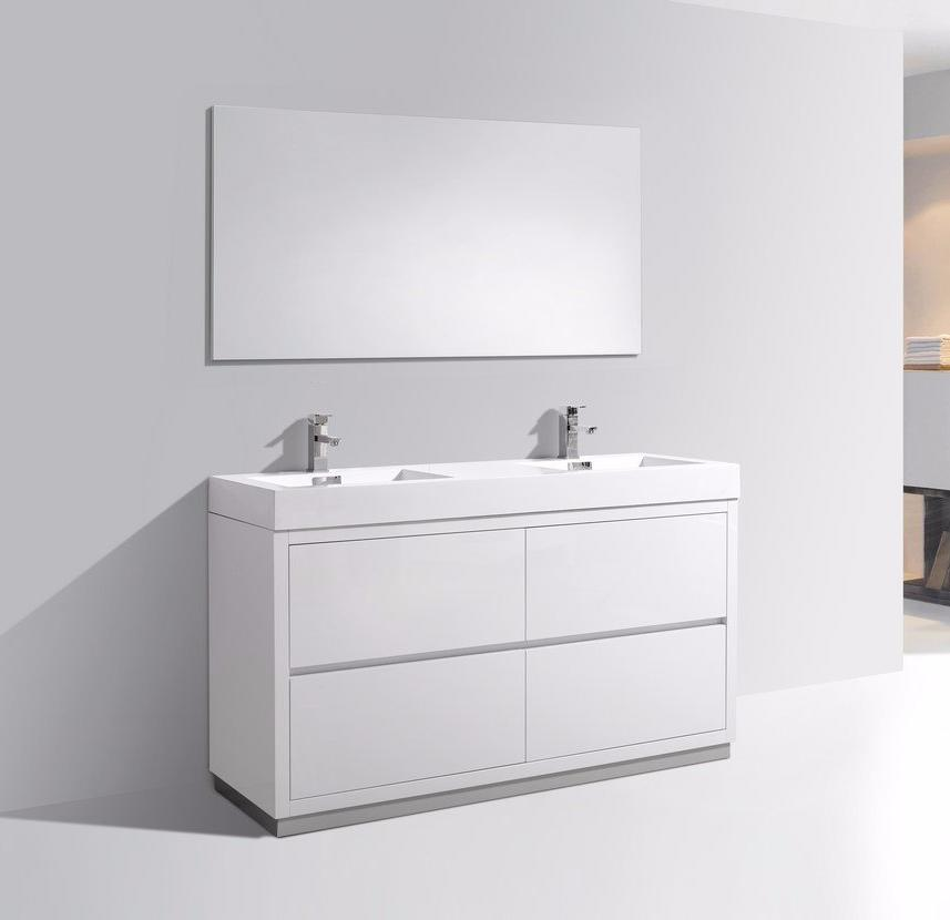 "60"" Bliss, Kubebath High Gloss White Free Standing Bathroom Vanity"