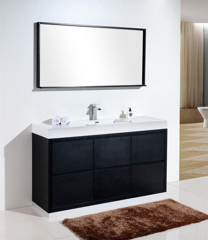 "60"" Bliss, Kubebath Black Espresso Free Standing Single Sink Bathroom Vanity"
