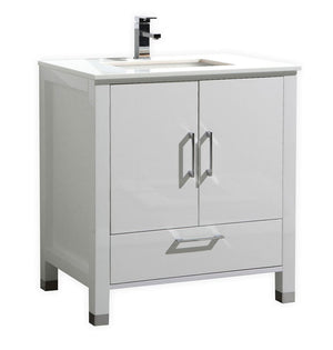 "30"" Anziano High Gloss White Bathroom Vanity"