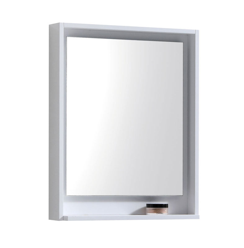 "24"" High Gloss White Mirror with Shelf"