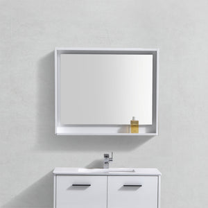 "36"" High Gloss White Lacquer Mirror with Shelf"