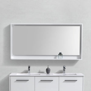 "60"" High Gloss White Mirror with Shelf"