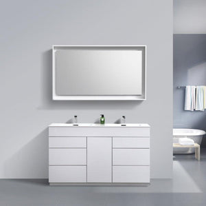 60″ Milano Double Sink High Gloss White Floor Mount Modern Bathroom Vanity
