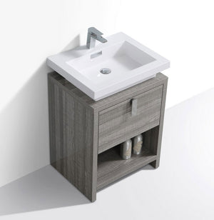"24"" Levi, Gloss Ash Grey Modern Bathroom Vanity"