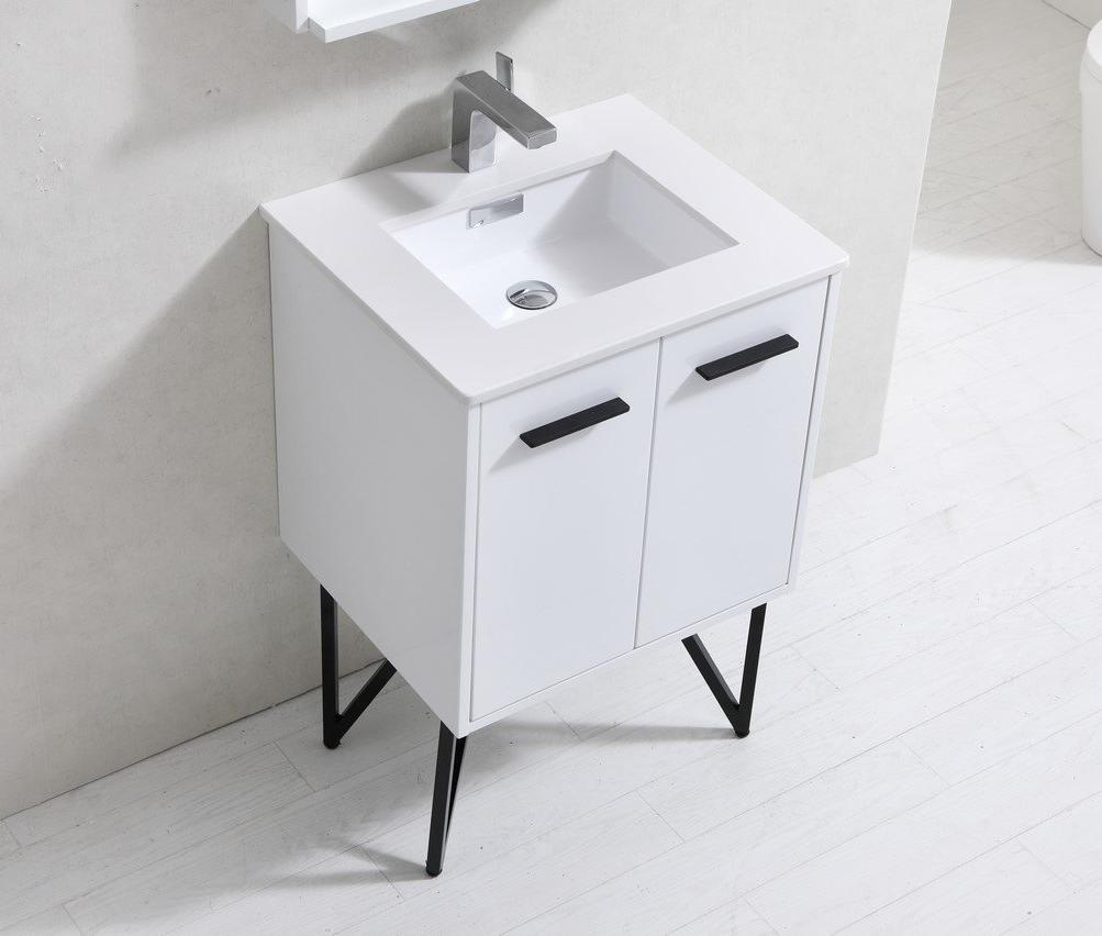 "24"" Forest, High Gloss White Bathroom Vanity"