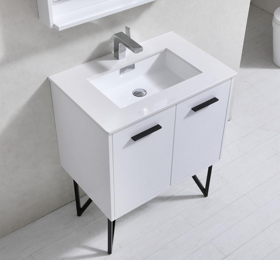 "30"" Forest High Gloss White Bathroom Vanity"