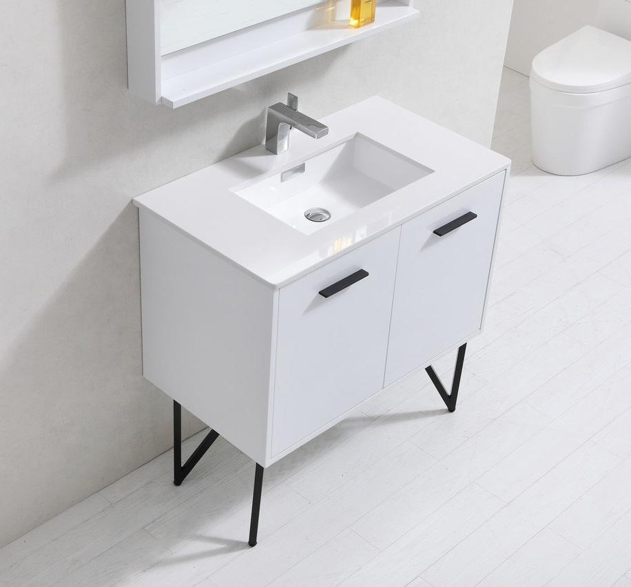 "36"" Forest High Gloss White Bathroom Vanity"