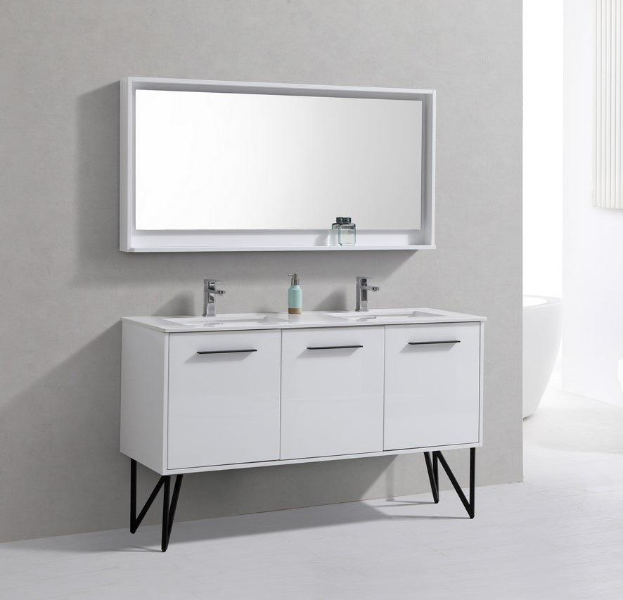"60"" Forest High Gloss White Double Sink Bathroom Vanity"