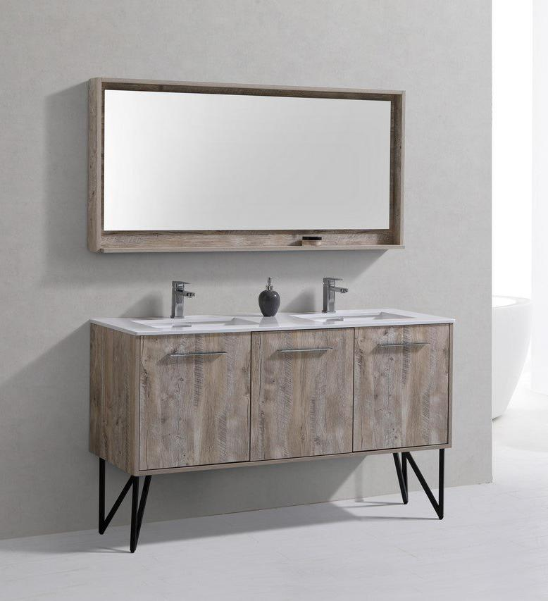 "60"" Forest Nature Wood Double Sink Bathroom Vanity"