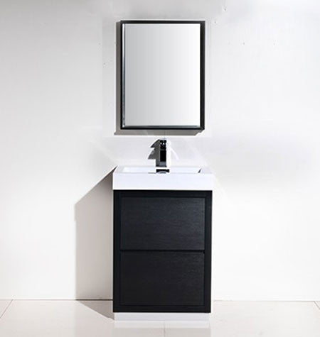 "24"" Bliss, Kubebath Black Espresso Free Standing Bathroom Vanity"